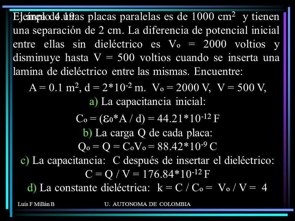 Luis F Millán BU. AUTONOMA DE COLOMBIA El área de unas placas paralelas es de 1000 cm 2 y tienen una separación de 2 cm. La diferencia de potencial in