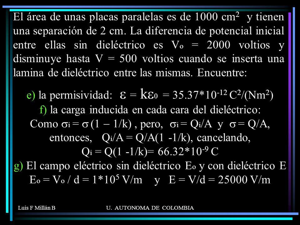 Luis F Millán BU. AUTONOMA DE COLOMBIA e) la permisividad: = k 0 = 35.37*10 -12 C 2 /(Nm 2 ) f) la carga inducida en cada cara del dieléctrico: Como i