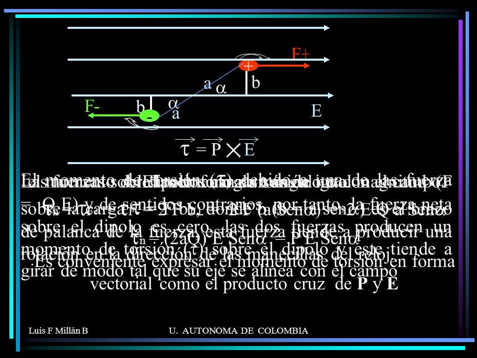 Luis F Millán BU. AUTONOMA DE COLOMBIA Las fuerzas sobre las dos cargas son de igual magnitud (F = Q E) y de sentidos contrarios, por tanto, la fuerza