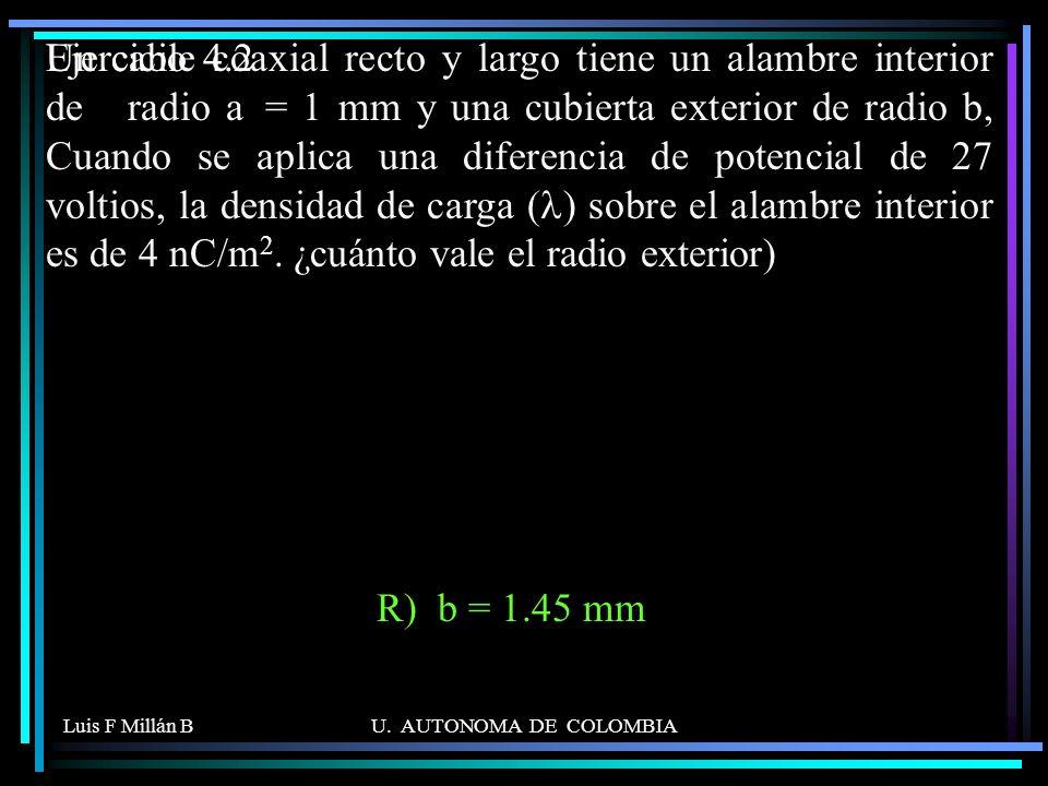 Luis F Millán BU. AUTONOMA DE COLOMBIA Un cable coaxial recto y largo tiene un alambre interior de radio a = 1 mm y una cubierta exterior de radio b,
