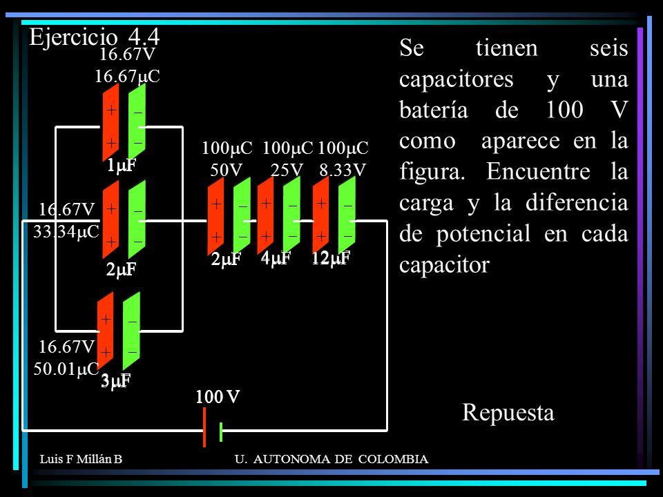 Luis F Millán BU. AUTONOMA DE COLOMBIA Se tienen seis capacitores y una batería de 100 V como aparece en la figura. Encuentre la carga y la diferencia