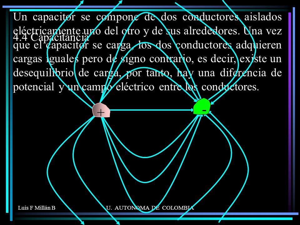 Luis F Millán BU. AUTONOMA DE COLOMBIA 4.4 Capacitancia Un capacitor se compone de dos conductores aislados eléctricamente uno del otro y de sus alred