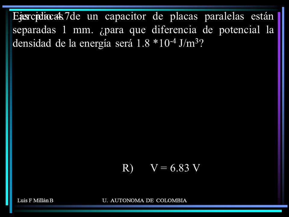 Luis F Millán BU. AUTONOMA DE COLOMBIA Las placas de un capacitor de placas paralelas están separadas 1 mm. ¿para que diferencia de potencial la densi