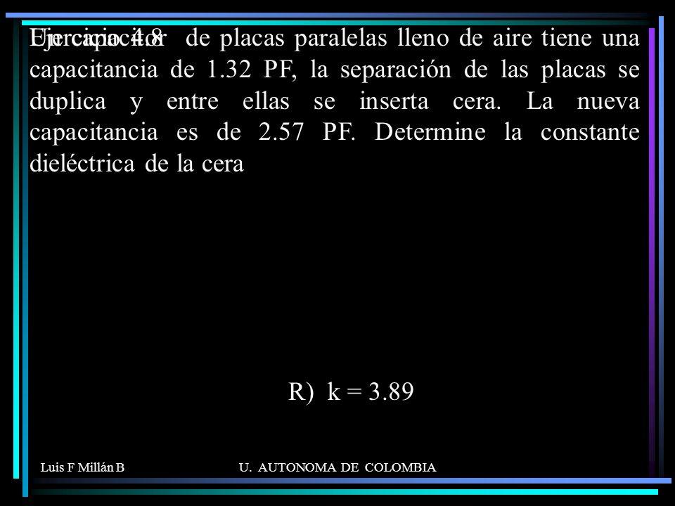 Luis F Millán BU. AUTONOMA DE COLOMBIA Un capacitor de placas paralelas lleno de aire tiene una capacitancia de 1.32 PF, la separación de las placas s