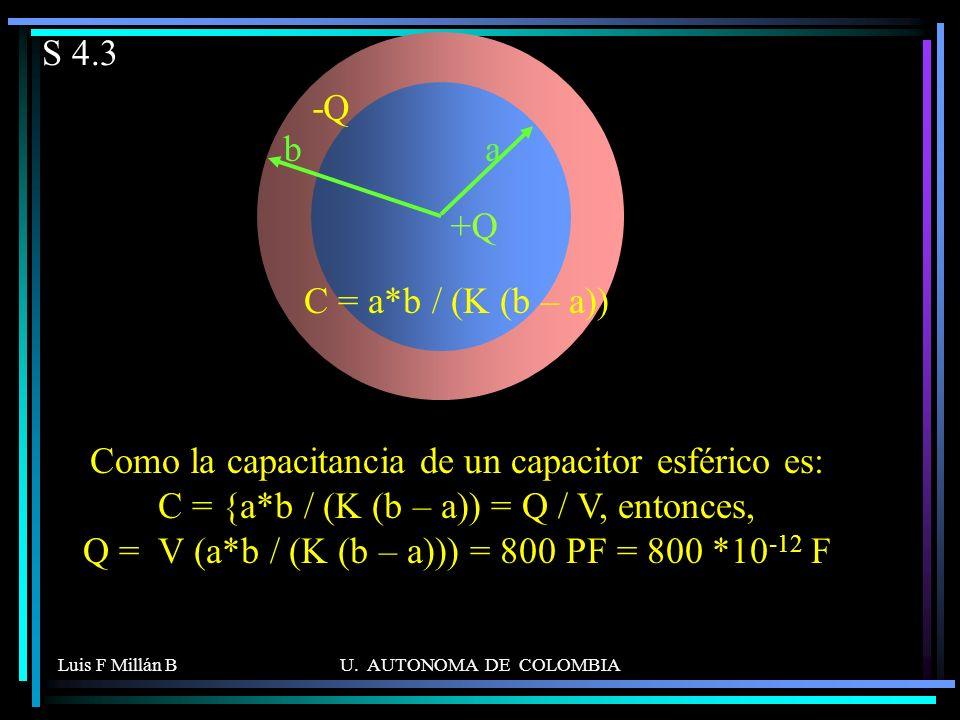 Luis F Millán BU. AUTONOMA DE COLOMBIA S 4.3 Como la capacitancia de un capacitor esférico es: C = {a*b / (K (b – a)) = Q / V, entonces, Q = V (a*b /