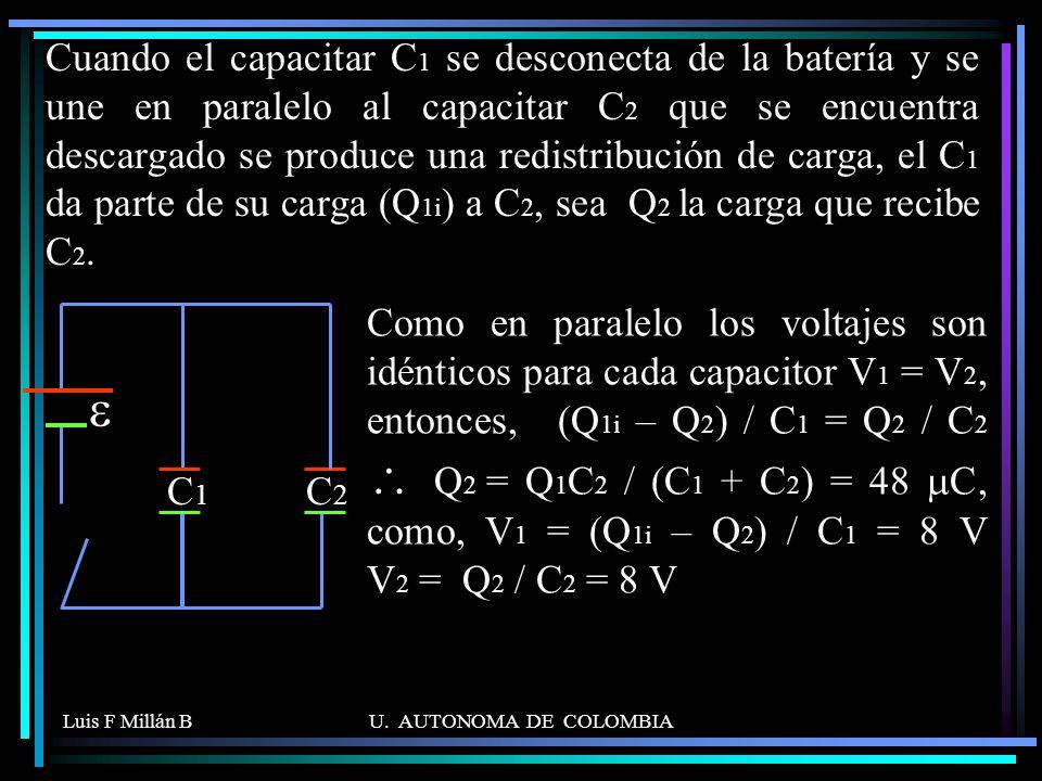 Luis F Millán BU. AUTONOMA DE COLOMBIA C1C1 C2C2 Cuando el capacitar C 1 se desconecta de la batería y se une en paralelo al capacitar C 2 que se encu