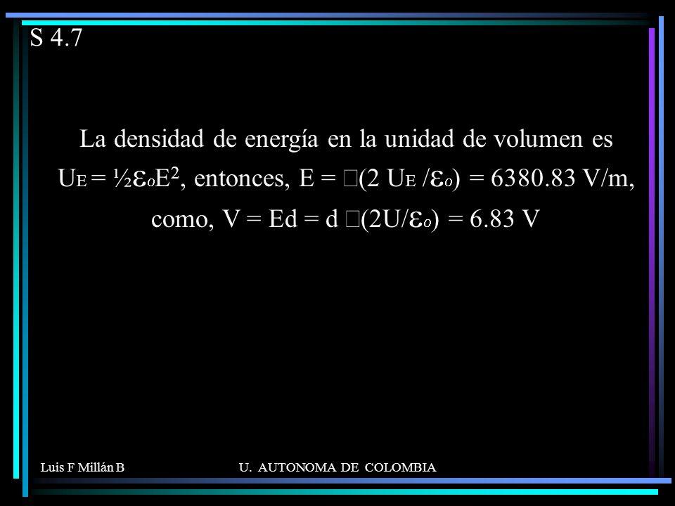 Luis F Millán BU. AUTONOMA DE COLOMBIA S 4.7 La densidad de energía en la unidad de volumen es U E = ½ 2, entonces, E = (2 U E / ) = 6380.83 V/m, como