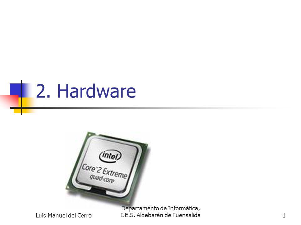2.1Arquitectura de ordeadores Se denomina Hardware al conjunto de dispositivos físicos que integran el ordenador Se denomina Software al conjunto de instrucciones que dirigen a los distintos componentes del ordenador.