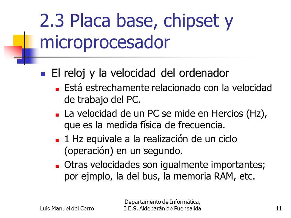 2.3 Placa base, chipset y microprocesador El reloj y la velocidad del ordenador Está estrechamente relacionado con la velocidad de trabajo del PC. La