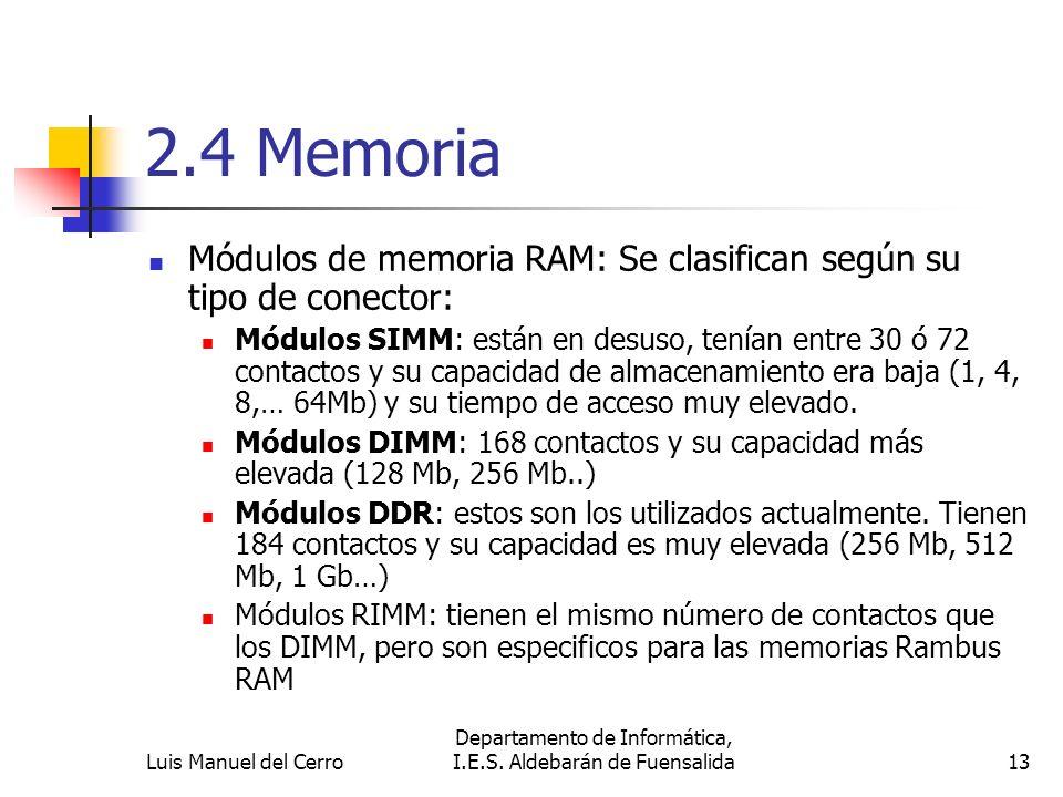 2.4 Memoria Módulos de memoria RAM: Se clasifican según su tipo de conector: Módulos SIMM: están en desuso, tenían entre 30 ó 72 contactos y su capaci