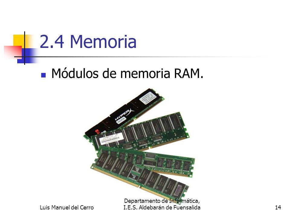 2.4 Memoria Módulos de memoria RAM. 14 Departamento de Informática, I.E.S. Aldebarán de FuensalidaLuis Manuel del Cerro