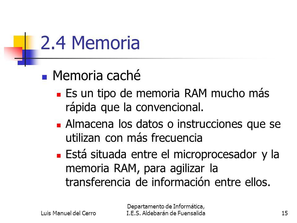 2.4 Memoria Memoria caché Es un tipo de memoria RAM mucho más rápida que la convencional. Almacena los datos o instrucciones que se utilizan con más f