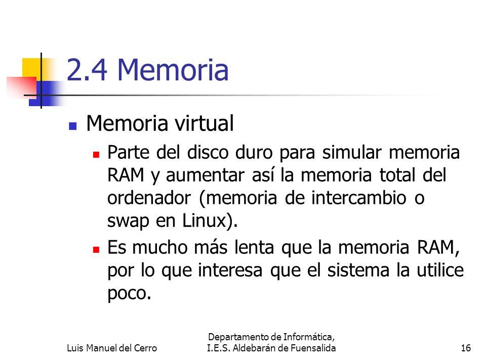 2.4 Memoria Memoria virtual Parte del disco duro para simular memoria RAM y aumentar así la memoria total del ordenador (memoria de intercambio o swap
