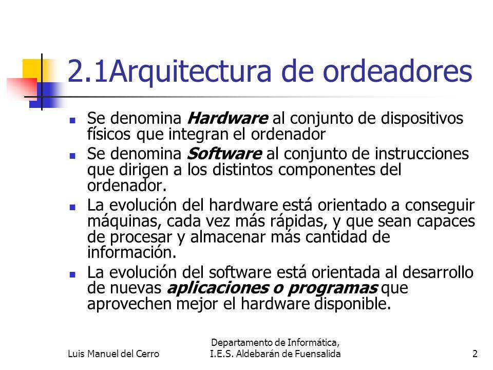 2.1Arquitectura de ordeadores Se denomina Hardware al conjunto de dispositivos físicos que integran el ordenador Se denomina Software al conjunto de i
