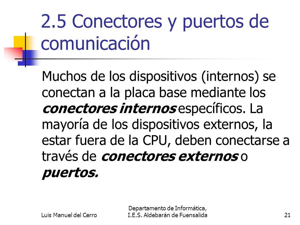 2.5 Conectores y puertos de comunicación Muchos de los dispositivos (internos) se conectan a la placa base mediante los conectores internos específico