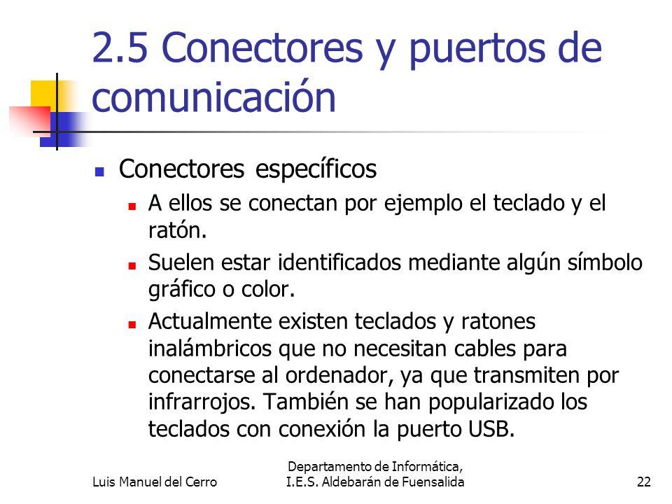 2.5 Conectores y puertos de comunicación Conectores específicos A ellos se conectan por ejemplo el teclado y el ratón. Suelen estar identificados medi
