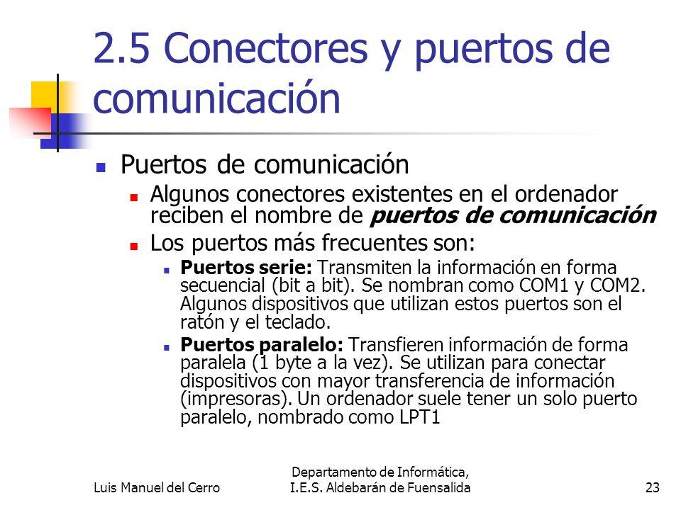 2.5 Conectores y puertos de comunicación Puertos de comunicación Algunos conectores existentes en el ordenador reciben el nombre de puertos de comunic