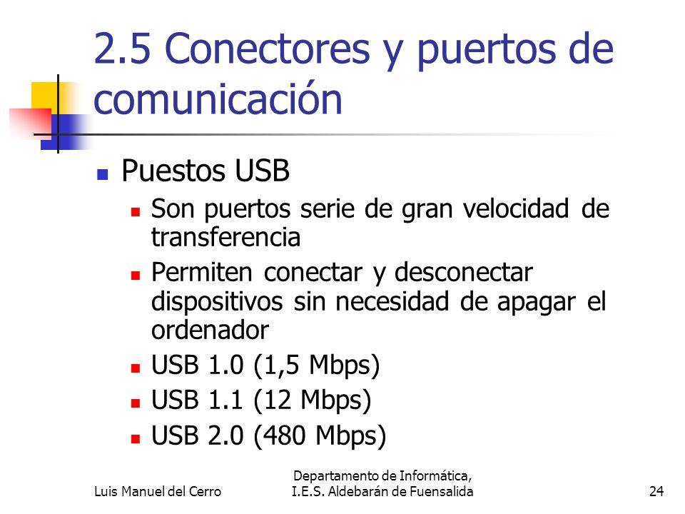2.5 Conectores y puertos de comunicación Puestos USB Son puertos serie de gran velocidad de transferencia Permiten conectar y desconectar dispositivos