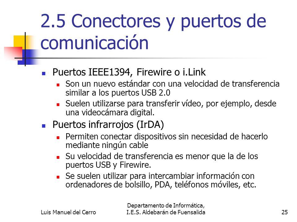 2.5 Conectores y puertos de comunicación Puertos IEEE1394, Firewire o i.Link Son un nuevo estándar con una velocidad de transferencia similar a los pu