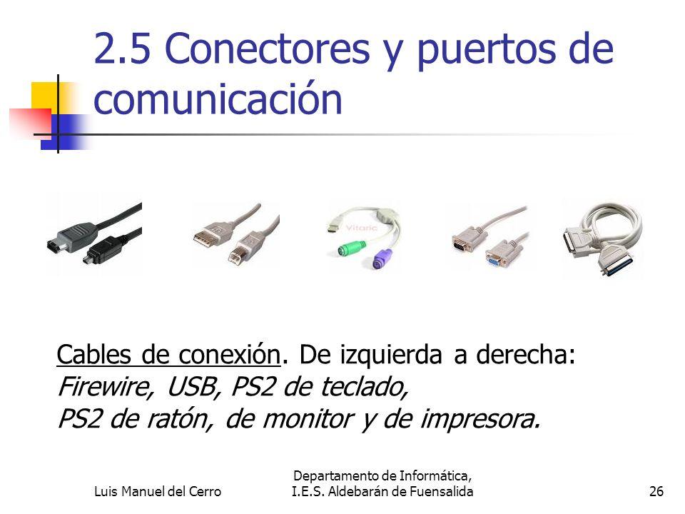 2.5 Conectores y puertos de comunicación Cables de conexión. De izquierda a derecha: Firewire, USB, PS2 de teclado, PS2 de ratón, de monitor y de impr