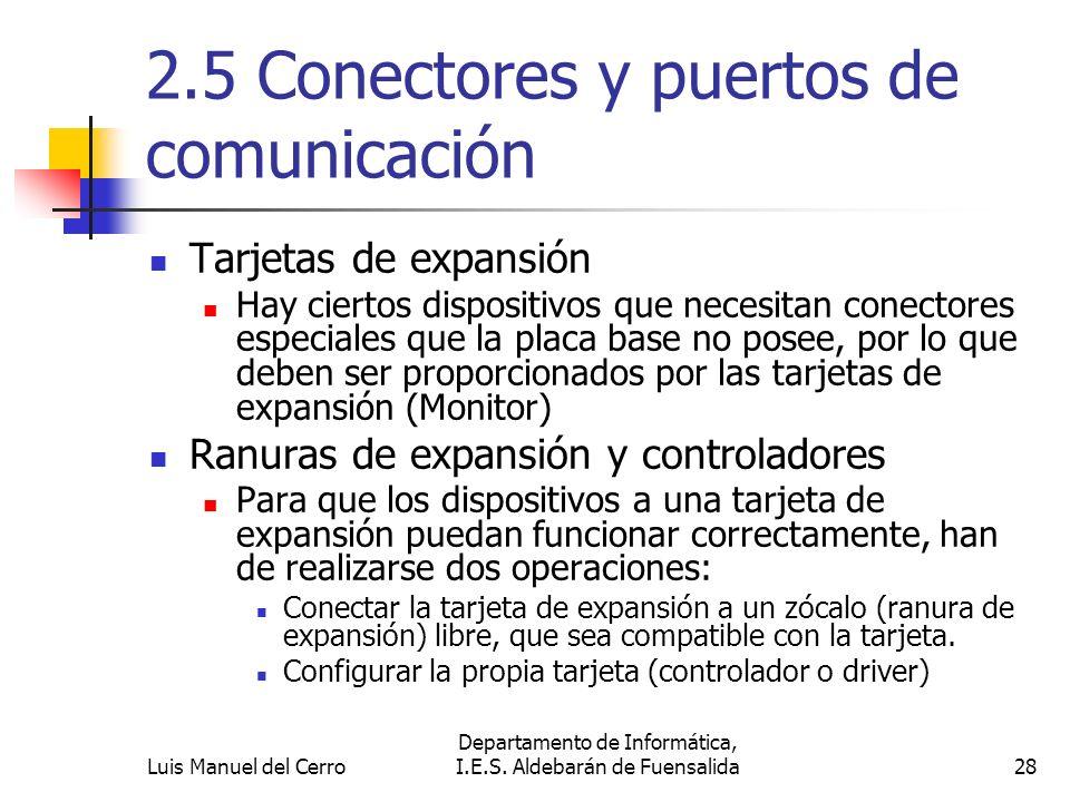 2.5 Conectores y puertos de comunicación Tarjetas de expansión Hay ciertos dispositivos que necesitan conectores especiales que la placa base no posee