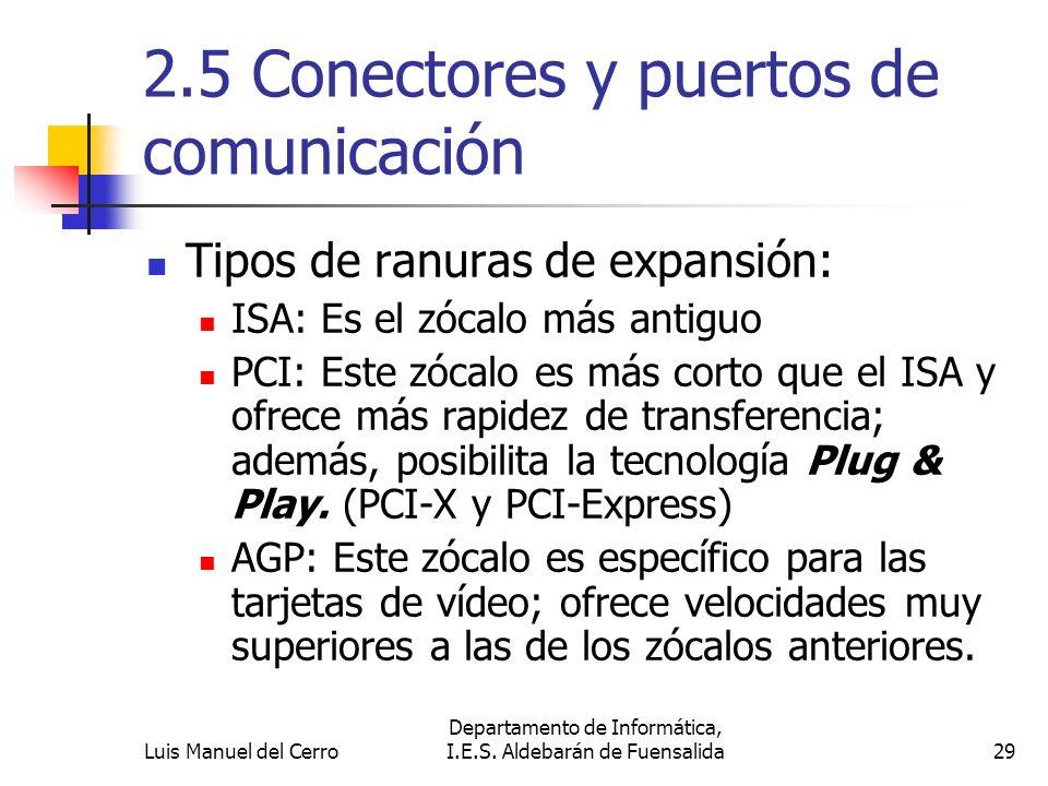 2.5 Conectores y puertos de comunicación Tipos de ranuras de expansión: ISA: Es el zócalo más antiguo PCI: Este zócalo es más corto que el ISA y ofrec