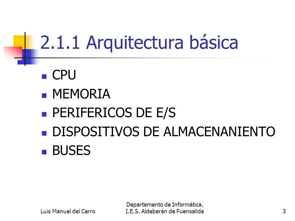 2.1.1 Arquitectura básica CPU MEMORIA PERIFERICOS DE E/S DISPOSITIVOS DE ALMACENANIENTO BUSES 3 Departamento de Informática, I.E.S. Aldebarán de Fuens