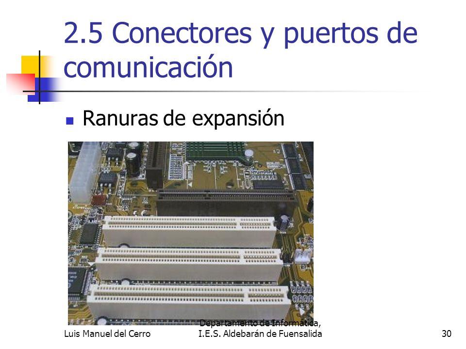 2.5 Conectores y puertos de comunicación Ranuras de expansión 30 Departamento de Informática, I.E.S. Aldebarán de FuensalidaLuis Manuel del Cerro