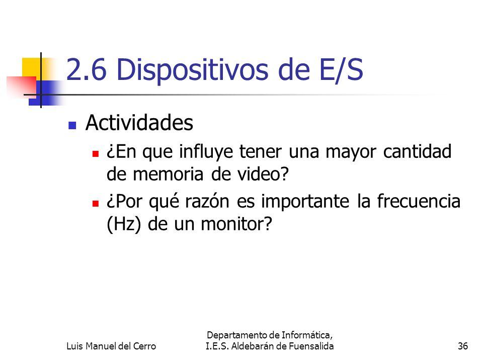 2.6 Dispositivos de E/S Actividades ¿En que influye tener una mayor cantidad de memoria de video? ¿Por qué razón es importante la frecuencia (Hz) de u