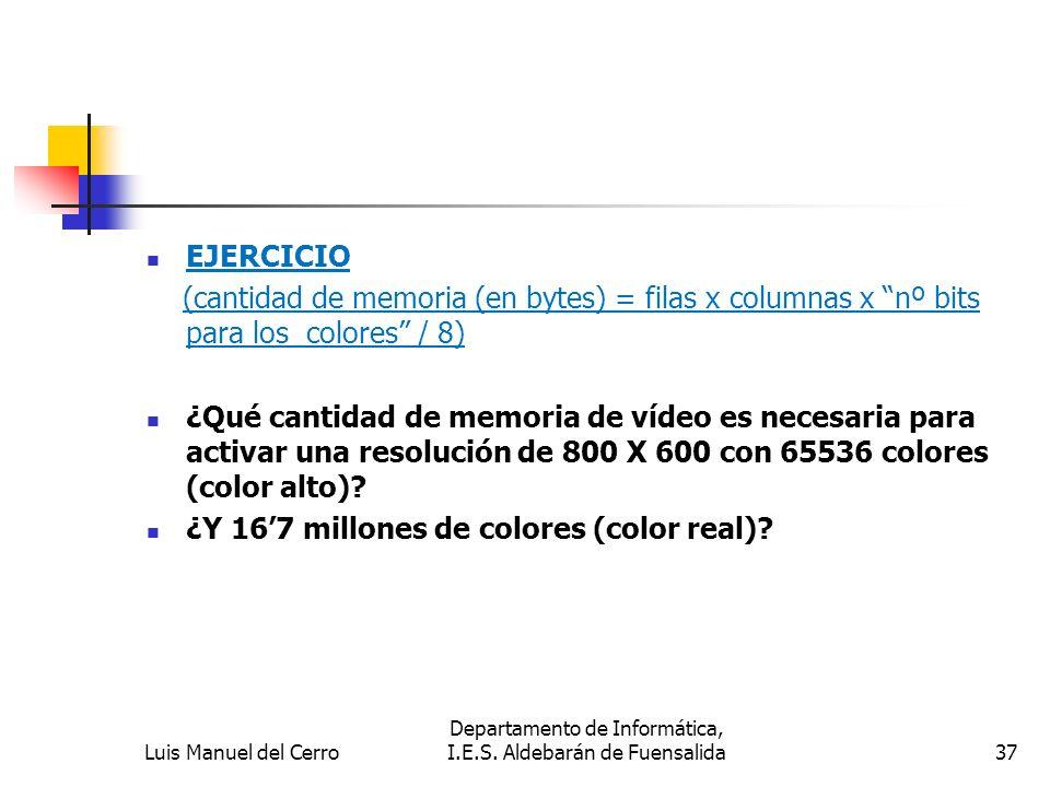 EJERCICIO (cantidad de memoria (en bytes) = filas x columnas x nº bits para los colores / 8) ¿Qué cantidad de memoria de vídeo es necesaria para activ