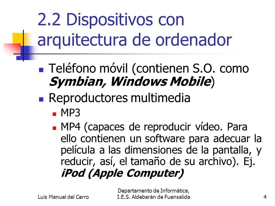 2.2 Dispositivos con arquitectura de ordenador PDA (con Hardware y un S.O.