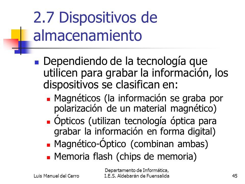 2.7 Dispositivos de almacenamiento Dependiendo de la tecnología que utilicen para grabar la información, los dispositivos se clasifican en: Magnéticos