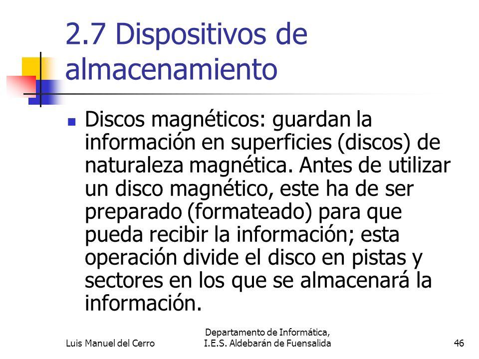 2.7 Dispositivos de almacenamiento Discos magnéticos: guardan la información en superficies (discos) de naturaleza magnética. Antes de utilizar un dis