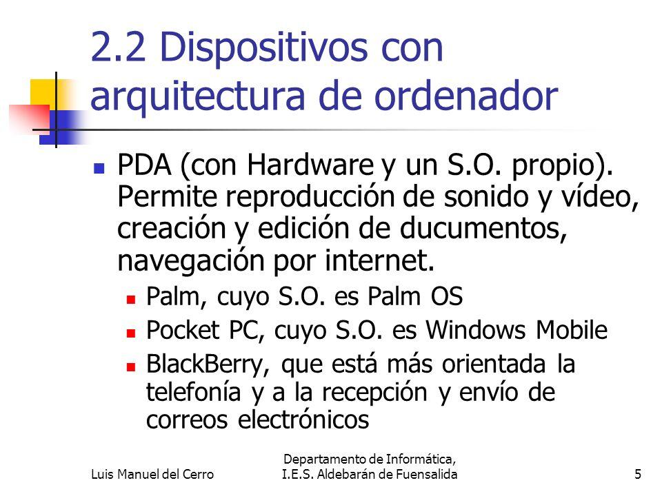 2.2 Dispositivos con arquitectura de ordenador PDA (con Hardware y un S.O. propio). Permite reproducción de sonido y vídeo, creación y edición de ducu