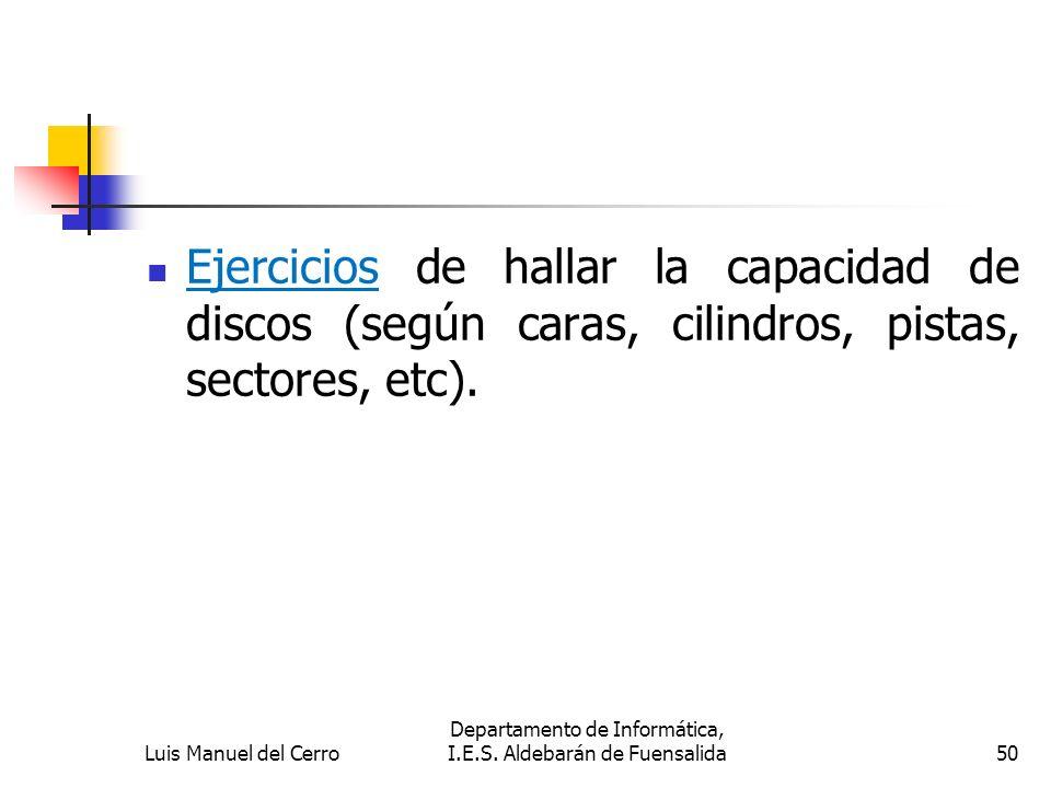 Ejercicios de hallar la capacidad de discos (según caras, cilindros, pistas, sectores, etc). Luis Manuel del Cerro Departamento de Informática, I.E.S.