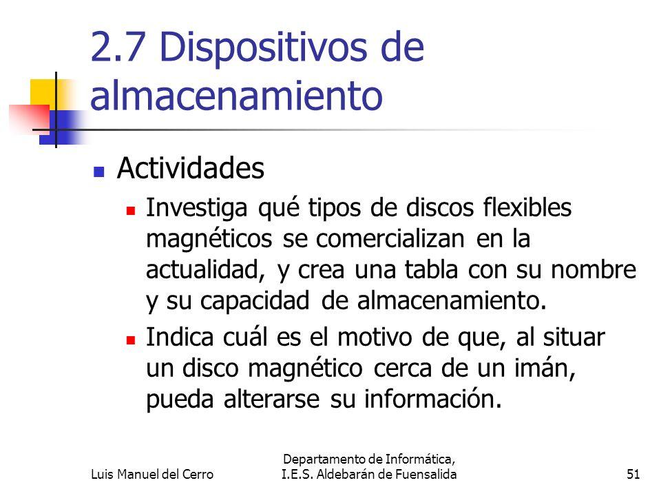 2.7 Dispositivos de almacenamiento Actividades Investiga qué tipos de discos flexibles magnéticos se comercializan en la actualidad, y crea una tabla