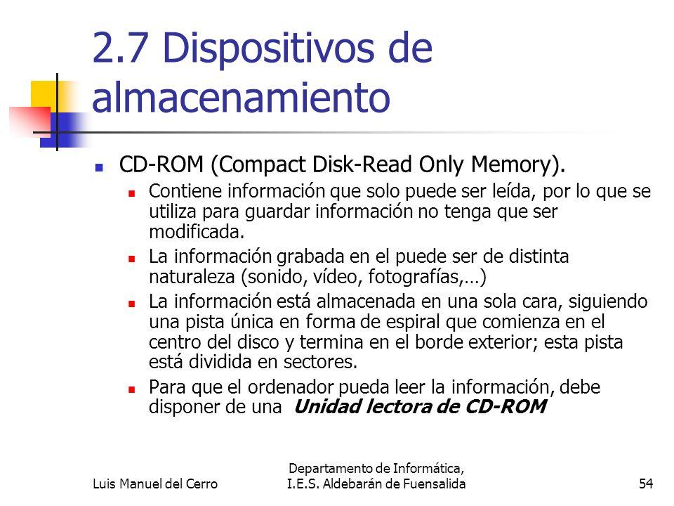 2.7 Dispositivos de almacenamiento CD-ROM (Compact Disk-Read Only Memory). Contiene información que solo puede ser leída, por lo que se utiliza para g
