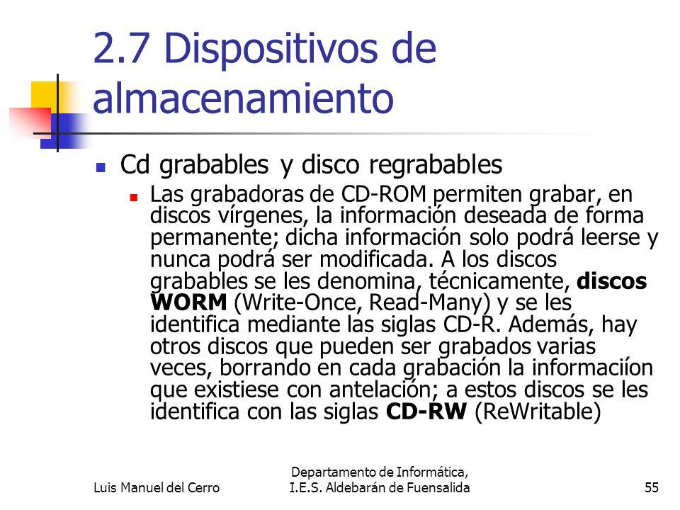 2.7 Dispositivos de almacenamiento Cd grabables y disco regrabables Las grabadoras de CD-ROM permiten grabar, en discos vírgenes, la información desea
