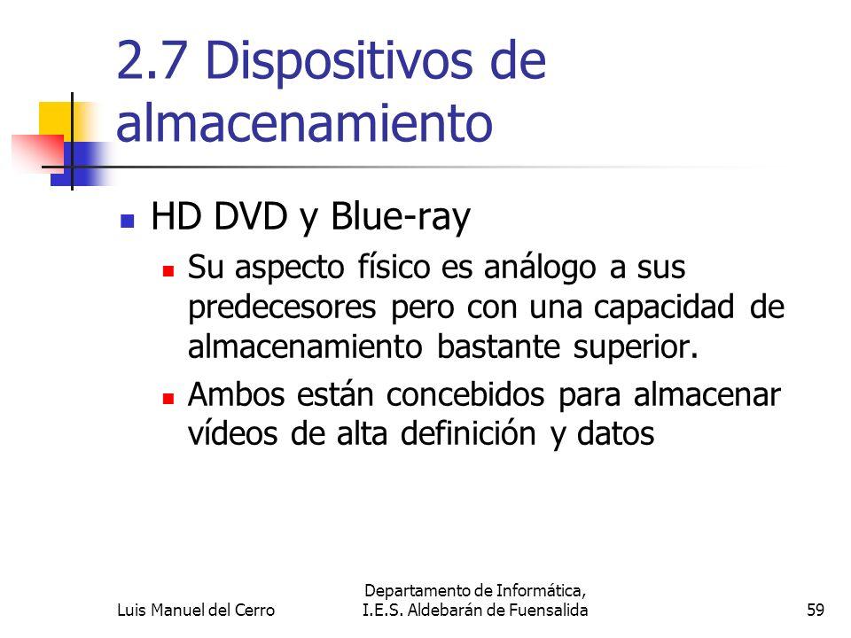 2.7 Dispositivos de almacenamiento HD DVD y Blue-ray Su aspecto físico es análogo a sus predecesores pero con una capacidad de almacenamiento bastante