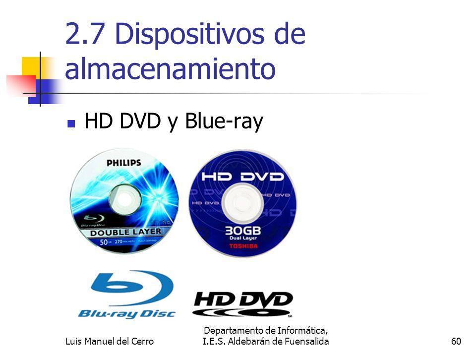 2.7 Dispositivos de almacenamiento HD DVD y Blue-ray 60 Departamento de Informática, I.E.S. Aldebarán de FuensalidaLuis Manuel del Cerro