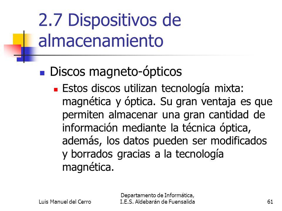 2.7 Dispositivos de almacenamiento Discos magneto-ópticos Estos discos utilizan tecnología mixta: magnética y óptica. Su gran ventaja es que permiten