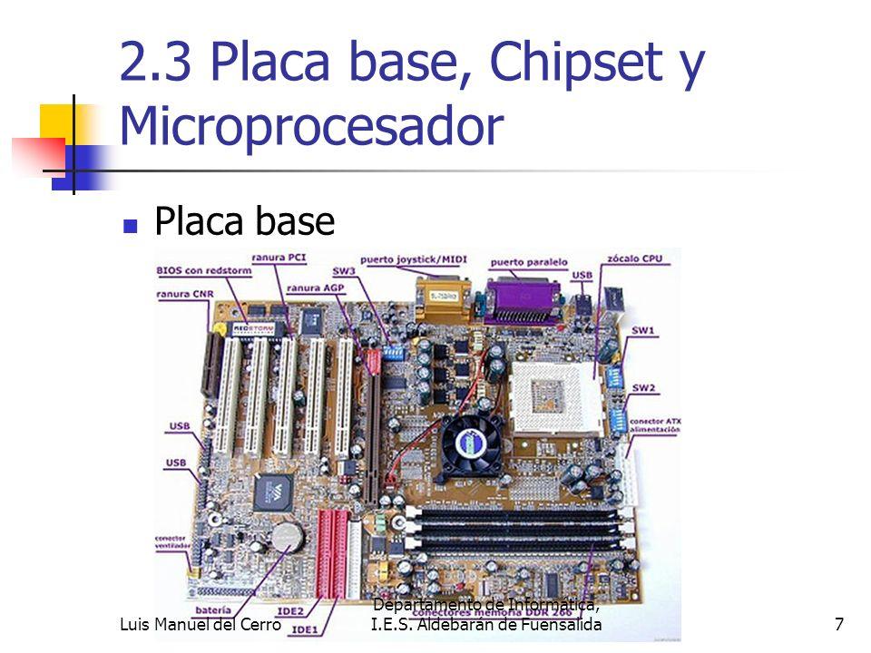 2.3 Placa base, chipset y microprocesador Placa base: A ella se conectan directamente o a través de ranuras de expansión (slots), todos los demás componentes.