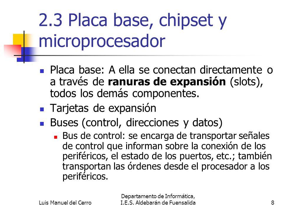 2.3 Placa base, chipset y microprocesador Placa base: A ella se conectan directamente o a través de ranuras de expansión (slots), todos los demás comp
