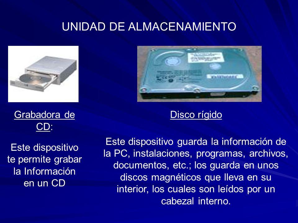 UNIDAD DE ALMACENAMIENTO DVD Player: Dispositivo encargado de reproducir el formato DVD, se utiliza mas para ver películas en la PC.
