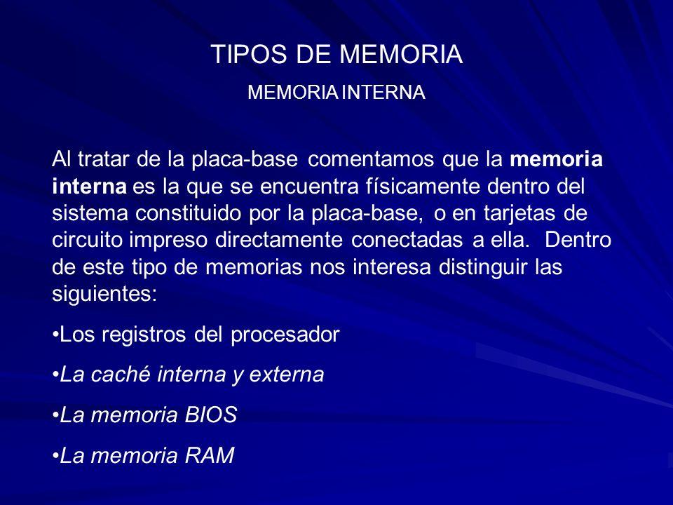 TIPOS DE MEMORIA MEMORIA RAM Aunque la clasificamos como Interna , la memoria RAM ( Random access memory ), es también en alguna forma una memoria externa ; en el sentido que está situada fuera del procesador; es como su bloc de notas.