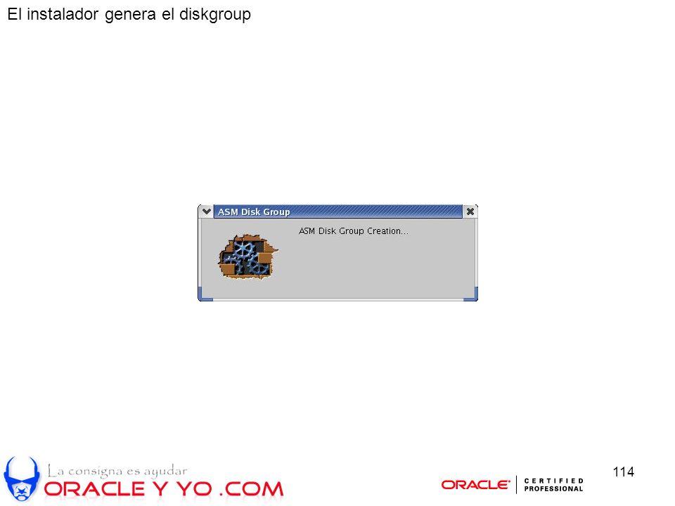 114 El instalador genera el diskgroup