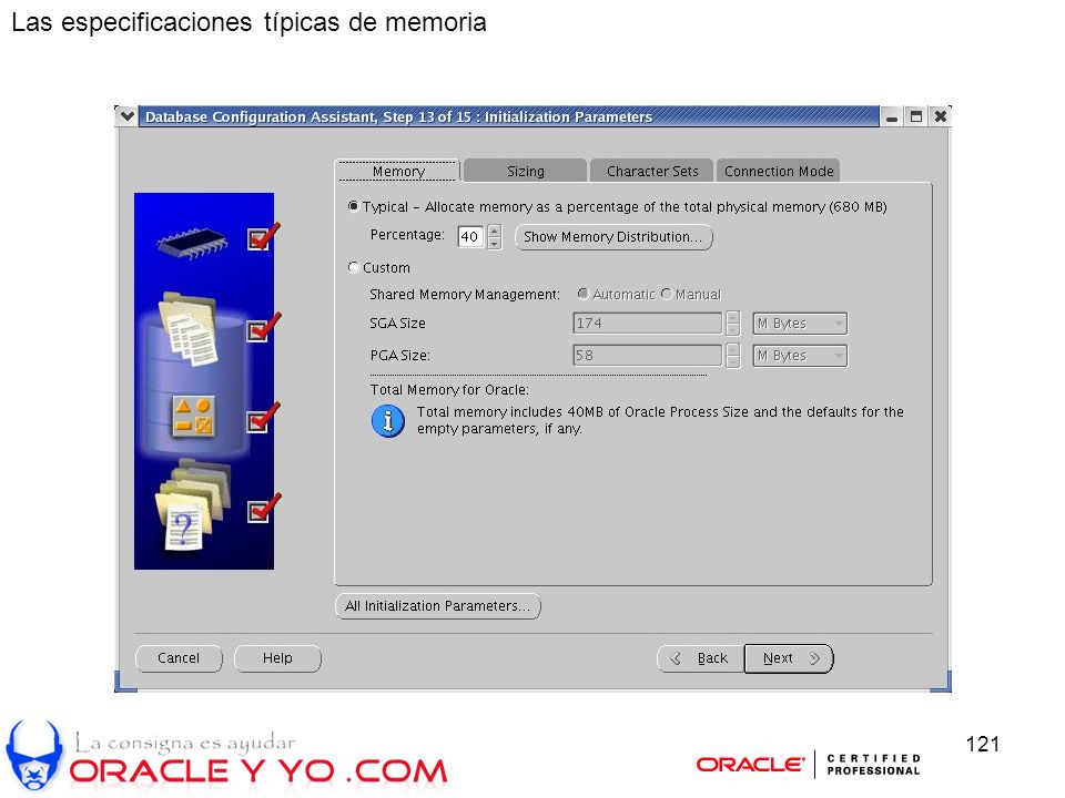 121 Las especificaciones típicas de memoria