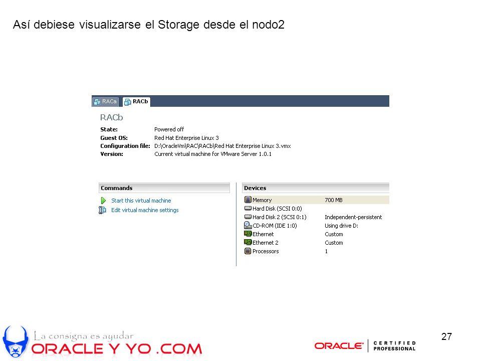 27 Así debiese visualizarse el Storage desde el nodo2