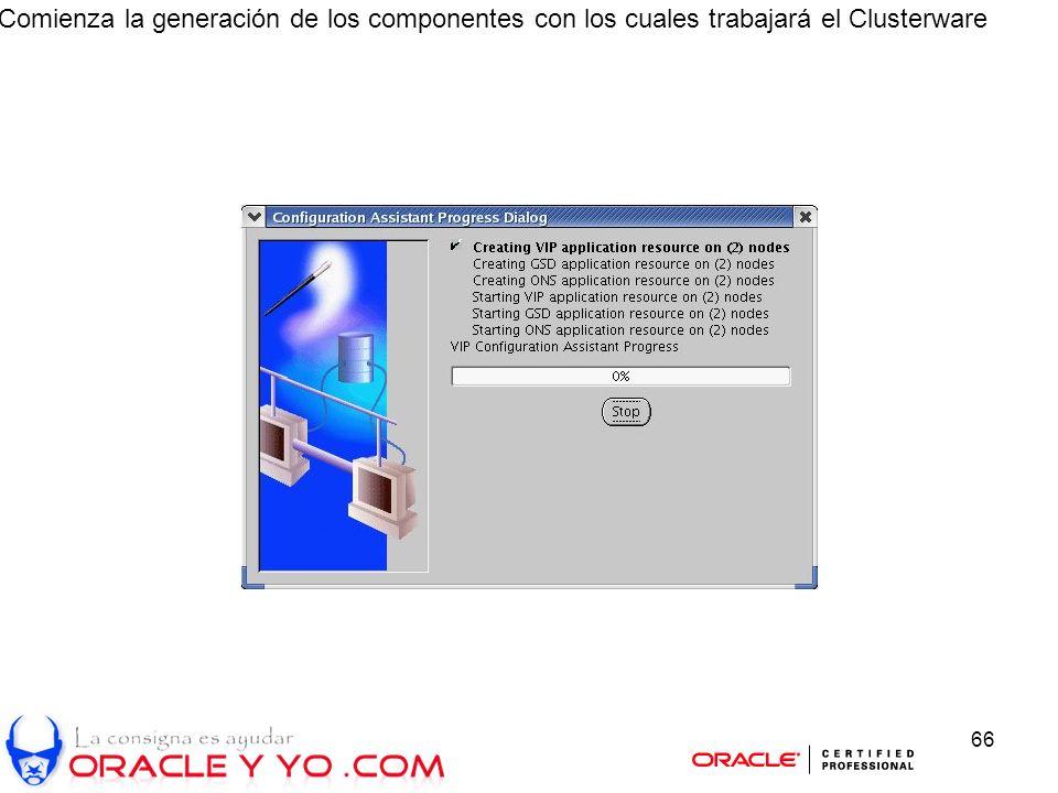 66 Comienza la generación de los componentes con los cuales trabajará el Clusterware
