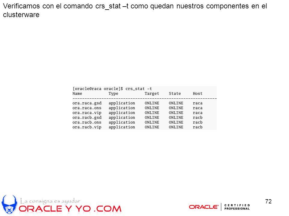 72 Verificamos con el comando crs_stat –t como quedan nuestros componentes en el clusterware